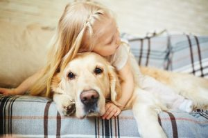 child laying on couch with dog
